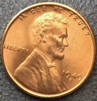 1949 S UNCIRCULATED BU RED RD - LINCOLN WHEAT CENT PENNY  FREE SHIP. B342