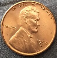 1950 S UNCIRCULATED CHOICE SOFTER RD RED - LINCOLN WHEAT CENT.  FREE SHIP. B668