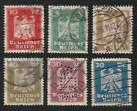 GERMAN EMPIRE 1924 NEW NAT. EAGLE   6 CTO STAMPS.