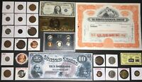 LOT FASCINATING US / WORLD COINS CURRENCY GOLD SILVER COPPE