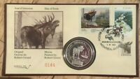 1995 MOOSE 1 OZ SILVER ROUND .999 FINE W ROBERT GERARD FIRST DAY COVER
