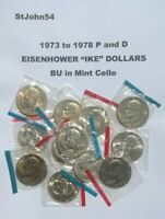 1973   1978 P D EISENHOWER IKE DOLLAR 12 COIN SET UNCIRCULATED BU IN MINT CELLO