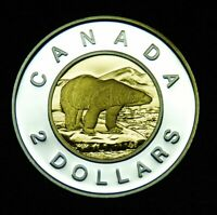 2003 CANADA SILVER TOONIE $2 FROM PROOF SET WITH GOLD INLAY