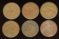 LOT OF 6 AUSTRALIA PENNY COINS 1935 1941 DOT AFTER Y 1949 19