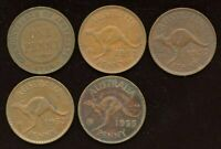 LOT OF 5 AUSTRALIA PENNY COINS 1916 1952 X 2 1953 1955