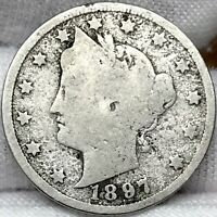 1897 5C LIBERTY V-NICKEL ||| PROBLEM FREE, GREAT LOOKING EARLY US COIN