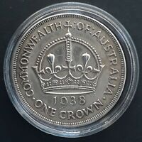 1938 AUSTRALIA ONE CROWN CORONATION 28.2G SILVER  92.5   CO