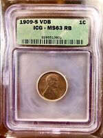 ONE OF THE FINEST ON EBAY: 1909-S VDB LINCOLN WHEAT CENT SLABBED MINT STATE 63RB LOOK