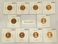 1970 1979 S LINCOLN MEMORIAL CENT GEM PROOF 10 COIN PROOF SET COMPLETE RUN