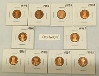 1980 1989 S LINCOLN MEMORIAL CENT GEM PROOF 10 COIN PROOF SET COMPLETE RUN