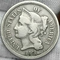 1868 3CN THREE CENT NICKEL ||| EARLY US TYPE, GREAT LOOKING COIN