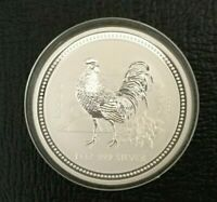 2005 AUSTRALIAN LUNAR SERIES 1 YEAR OF THE ROOSTER 1 OZ SILVER COIN BU .999 FINE