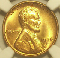 1936 S LINCOLN WHEAT CENT GEM MINT STATE 66 RD