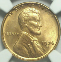 1936-S LINCOLN PENNY GEM MINT STATE 66 RED NGC