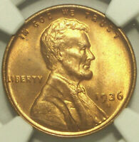 1936-S LINCOLN CENT NGC GEM MINT STATE 66 RED