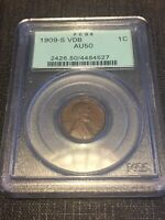 1909-S VDB PCGS AU50 1C LINCOLN CENT WHEAT EARS PENNY GREEN LABEL PQ OGH