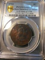 1794 LIBERTY CAP LARGE CENT >S-28< HEAD OF 1794 PCGS VF 20 >SUPER FAST SHIPPING