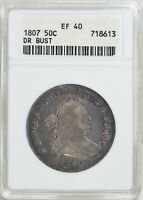 1807 DRAPED BUST HALF DOLLAR >ANACS EXTRA FINE 40<  PRETTY COIN > FAST SHIPS FREE