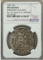1856 SEATED LIBERTY SILVER DOLLAR >NGC 60< SUPER FAST SHIPS FREE