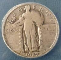 1927 S ANACS G4 STANDING LIBERTY SILVER QUARTER, GOOD 4 SEMI KEY DATE 25C COIN