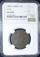 1807/6 LARGE CENT ERROR COIN NGC GRADED