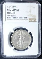 CLEANED 1934 D SILVER WALKING LIBERTY HALF DOLLAR NGC
