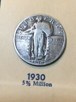 1930 LIBERTY STANDING QUARTER - SEE MY LISTINGS FOR SILVER DOLLARS AND HALVES