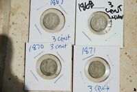 1867, 1868, 1870, AND 1871  3 CENT NICKEL PIECES  FINE TO  FINE 4 COINS