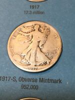 1917-S OBV. WALKING LIBERTY HALF GOOD SEE MY LISTINGS FOR HALF & SILVER DOLLARS