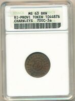 1863 PROVIDENCE R.I. CIVIL WAR TOKEN-CHARNLEYS 700C-3A-ANACS GRADED MINT STATE 63 BRN