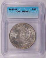 1885-O MORGAN DOLLAR SILVER $1 CHOICE BRILLIANT UNCIRCULATED MINT STATE ICG MINT STATE 64