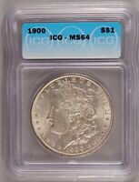 1900 MORGAN DOLLAR SILVER $1 CHOICE BRILLIANT UNCIRCULATED MINT STATE ICG MINT STATE 64