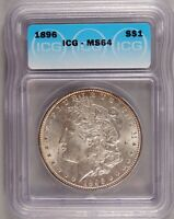 1896 MORGAN DOLLAR SILVER $1 CHOICE BRILLIANT UNCIRCULATED MINT STATE ICG MINT STATE 64