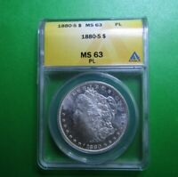 1880-S MORGAN DOLLAR- ANACS GRADED MINT STATE 63 PL- GREAT LUSTER