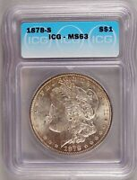 1878-S MORGAN DOLLAR SILVER $1 CHOICE BRILLIANT UNCIRCULATED MINT STATE ICG MINT STATE 63