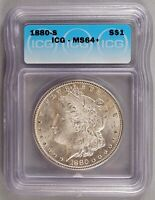 1880-S MORGAN DOLLAR SILVER CHOICE BRILLIANT UNCIRCULATED MINT STATE ICG MINT STATE 64