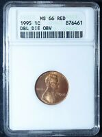 1995 DDO LINCOLN CENT ANACS MINT STATE 66