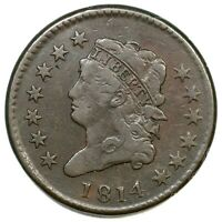1814 S-295 PLAIN 4 CLASSIC HEAD LARGE CENT COIN 1C