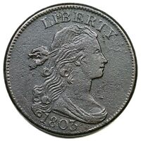 1803 S-265 R-4 DRAPED BUST LARGE CENT COIN 1C