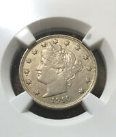 1910 LIBERTY V NICKEL NGC CERTIFIED 5C CLEANED-AU DETAIL