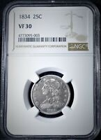 1834 CAPPED BUST SILVER QUARTER DOLLAR NGC VF30