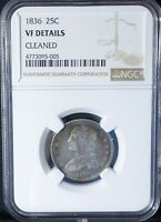 1836 SILVER CAPPED BUST QUARTER DOLLAR