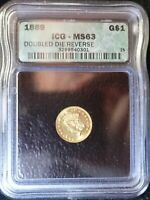 1889 GOLD $1 ICG MINT STATE 63 DOUBLE DIE REVERSE DDO