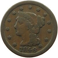 UNITED STATES CENT 1846 BRAIDED HAIR  T46 045