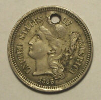1866 THREE CENT NICKEL HOLED- DETAILS