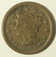1847 BRAIDED HAIR LARGE CENT PENNY -  DETAIL / CORRODED OBVERSE