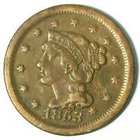 1853 BRAIDED HAIR LARGE CENT PENNY - CLEANED
