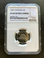 1991 CANADA SILVER 5 CENT NGC PF 69 UCAM NICKEL PROOF TOP PO