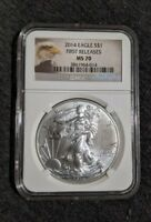 2014 AMERICAN SILVER EAGLE NGC MS 70 FIRST RELEASES ASE SILVER DOLLAR