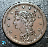 1851 BRAIDED HAIR LARGE CENT     MAKE US AN OFFER   B3705